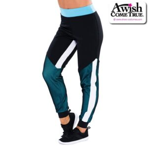 T2235  Cheer Team Colour Blocked Track Pants Light Turquoise
