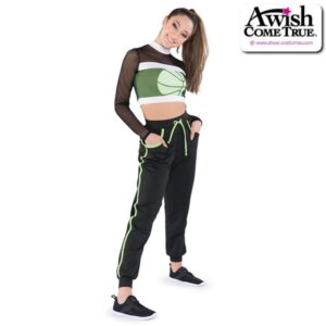 T2246  Court Cheer Team Fishnet Crop Top With Pants