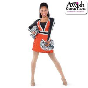 T2247  Steady Cheer Pom Dance Elite Sequin Dress Orange