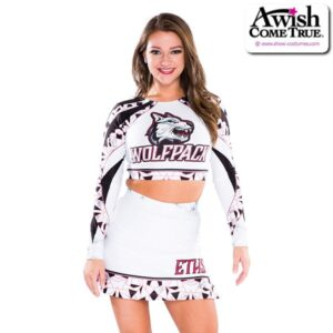 T25  Perfection Ultra Impress Cheer Team Foil Crop Top With Skirt