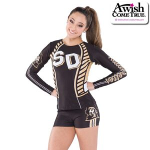 T2615  Courage Ultra Impress Cheer Team Foil Long Sleeve Top With Shorts