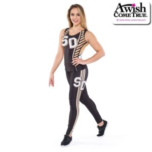 T2617  Courage Ultra Impress Cheer Team Foil High Waisted Leggings With Tank