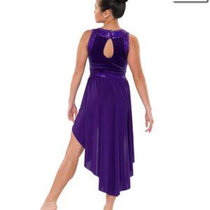 V2198  Can You Hear Me Velvet Hologram Sequin Lyrical Contemporary Dance Dress Back