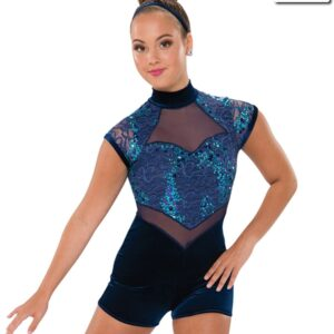 V2229  Be Alright Sequin Lace Lyrical Contemporary Dance Shortall Navy