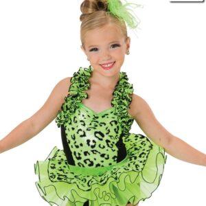 V2236  Rumble In The Jungle Glitter Velvet Jazz Dance Costume Glo Lime