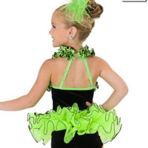 V2236  Rumble In The Jungle Glitter Velvet Jazz Dance Costume Glo Lime Back