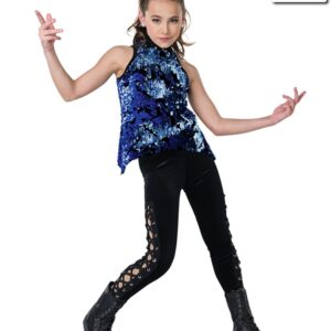 V2259Y  Mothership Flip Sequin Velvet Hip Hop Dance Costume