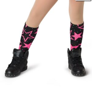 V2282S  Shine So Bright Star Print Socks Dance Costume Accessory Glo Cerise