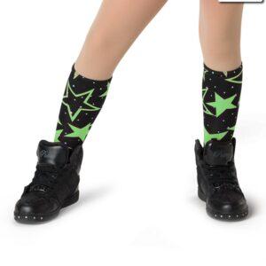 V2282S  Shine So Bright Star Print Socks Dance Costume Accessory Glo Lime