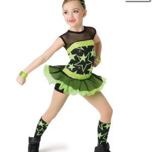 V2282  Shine So Bright Sequin Star Print Jazz Dance Costume Glo Lime
