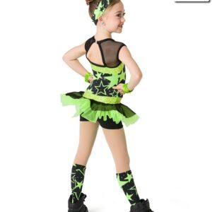V2282  Shine So Bright Sequin Star Print Jazz Dance Costume Glo Lime Back