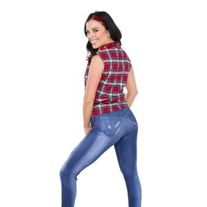 V2292 YN  Plaid Flannel Stretch Denim Hip Hop Dance Costume Back