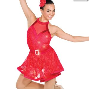 V2308Y  Swing Beats Floral Lace Tap Jazz Dance Dress Red