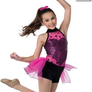 V2319  Jump Jive And Wail Flock Star Sequin Tap Jazz Dance Costume Fuchsia