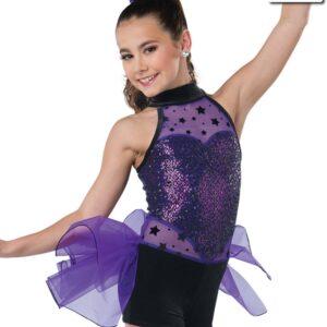 V2319  Jump Jive And Wail Flock Star Sequin Tap Jazz Dance Costume Purple