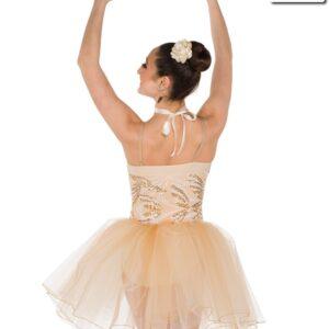 V2322  Vinales Embroidered Sequin Ballet Tutu Tan Back