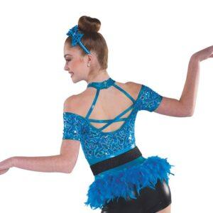 V2337  Dont Start Now Sequin Floral Lace Tap Jazz Dance Costume Back