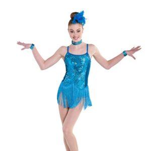 V2338  New Rhythm Sequin Velvet Fringed Tap Jazz Dance Costume