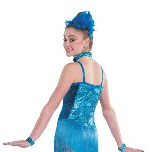V2338  New Rhythm Sequin Velvet Fringed Tap Jazz Dance Costume Back