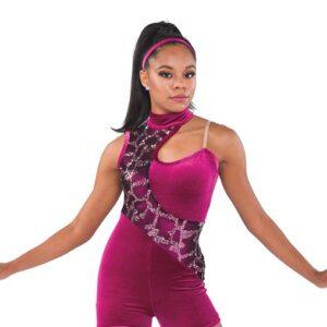 V2341  Broken Sorrow Velvet Sequin Pattern Tap Jazz Dance Shortall