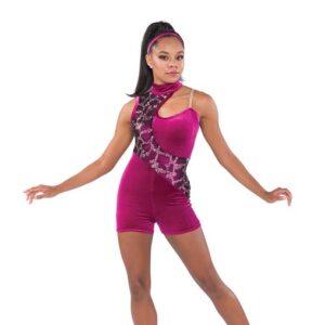 V2341  Broken Sorrow Velvet Sequin Pattern Tap Jazz Dance Shortall Sangria