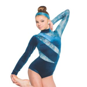 V2350  Near To You Velvet Lace Contemporary Dance Leotard Front