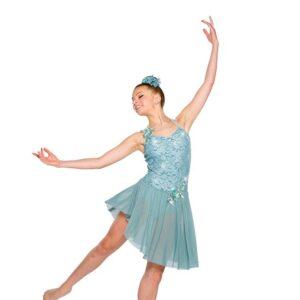 V2358Y  Sequin Floral Lace Lyrical Dance Dress
