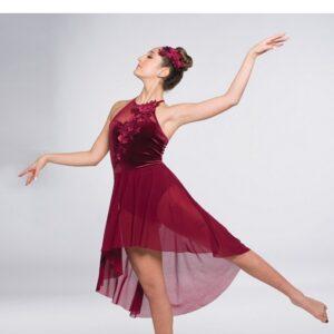 V2364Y  New Soul Velvet Mesh Lyrical Dance Dress