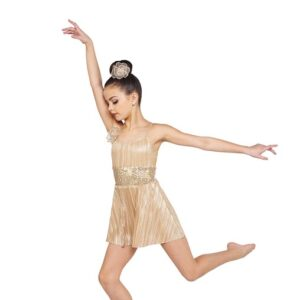 V2373  Halo Foil Pleated Knit Lyrical Contemporary Dance Dress