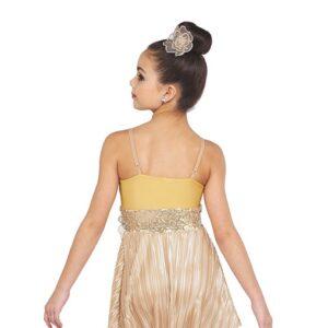 V2373  Halo Foil Pleated Knit Lyrical Contemporary Dance Dress Back
