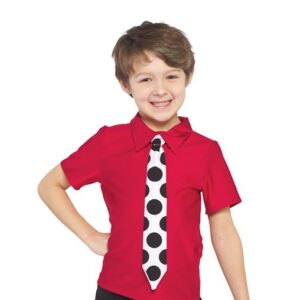 V2387  At The Bop Boys Dance Top With Polka Dot Tie A