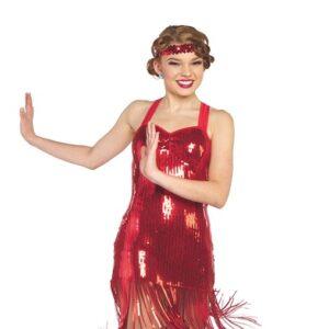 V2396Y  Millie Sequin Fringed Tap Jazz Dance Dress Red