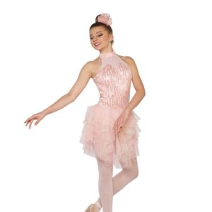 V2398Y  How Will I Know Sequin Floral Lace Lyrical Contemporary Dance Dress