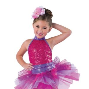 V2407  Just Gotta Be You Kids Sequin Spandex Tap Dance Costume Peony