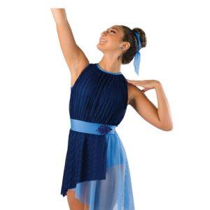 V2408  Pleated Chiffon Asymmetrical Lyrical Dance Dress