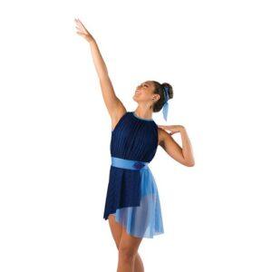 V2408  Pleated Chiffon Asymmetrical Lyrical Dance Dress Navy