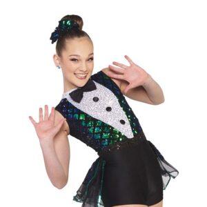 V2413Y  Crocodile Rock Sequin Velvet Hip Hop Dance Costume Front