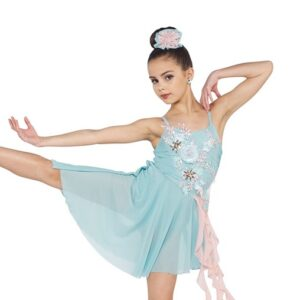 V2417Y  Used To Be Mine Asymmetrical Floral Embroidered Lyrical Contemporary Dance Dress