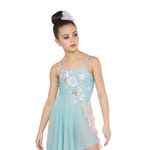 V2417Y  Used To Be Mine Asymmetrical Floral Embroidered Lyrical Contemporary Dance Dress D