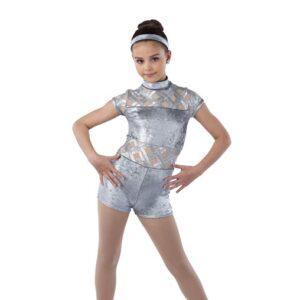 V2430  Everything I Wanted Foil Velvet Tap Jazz Dance Shortall