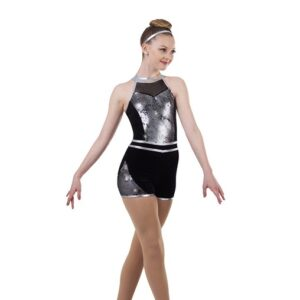 V2454  Aint Nothing Wrong Embroidered Sequin Tap Jazz Dance Shortall Silver