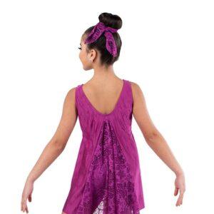 V2457  Floral Lace Lyrical Dance Dress Sangria Back