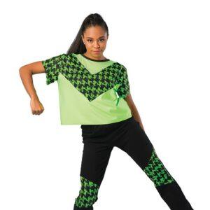 V2462  Houndstooth Sequin Dot Hip Hop Dance Costume