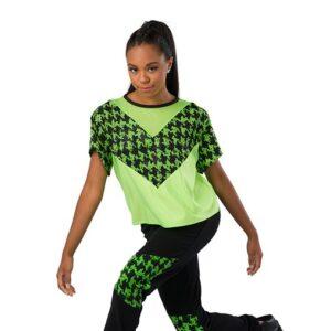 V2462  Houndstooth Sequin Dot Hip Hop Dance Costume Glo Lime