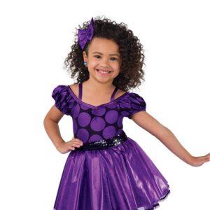 V2463  Foil Polka Dot Tap Dance Costume Purple