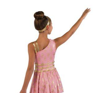 V2464  Foil Print Slinky Lyrical Dance Dress Back
