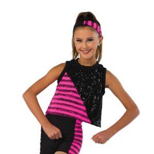 V2465  Striped Sequin Hip Hop Dance Shortall
