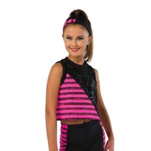 V2465  Striped Sequin Hip Hop Dance Shortall Bubblegum Pink