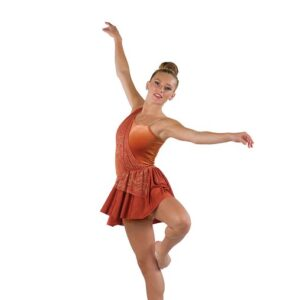 V2467  Foil Wavy Print Velvet Lyrical Dance Costume Spice A