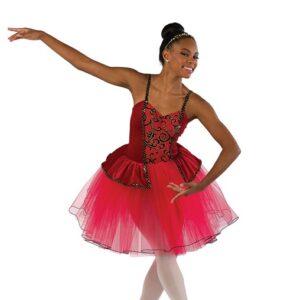 V2474  Glitter Flocked Mesh Ballet Tutu